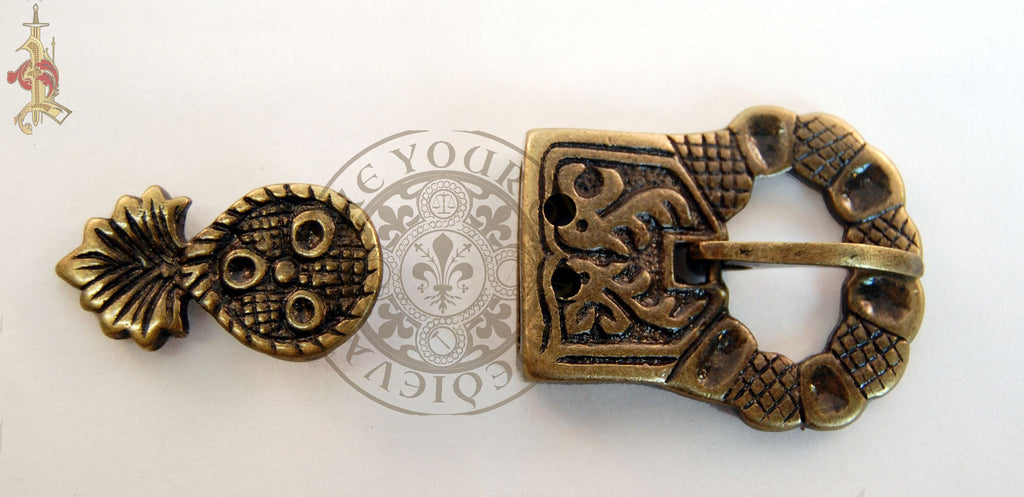 1400 - 1500 Medieval Belt Buckle and Strap End Set - 21mm Strap Width