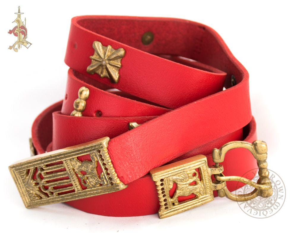 Stark Game of thrones Medieval belt with wolf belt buckle, end and mounts in red leather