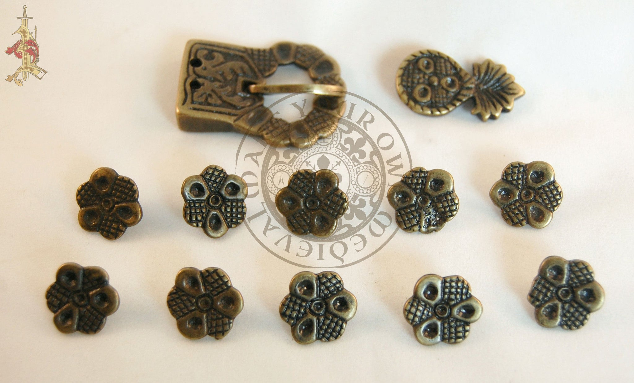 15th Century Medieval Belt buckle and strapend set with mounts