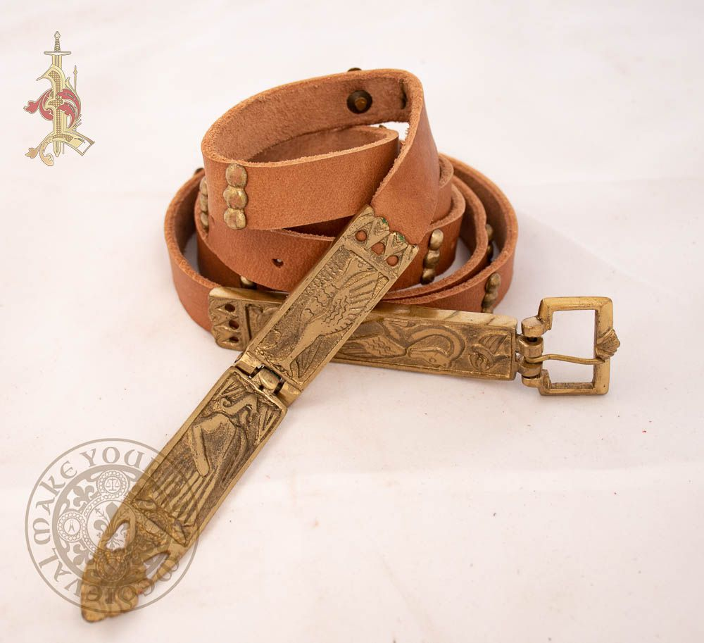 15th century medieval  belt with Dragon buckle made from  Brown leather
