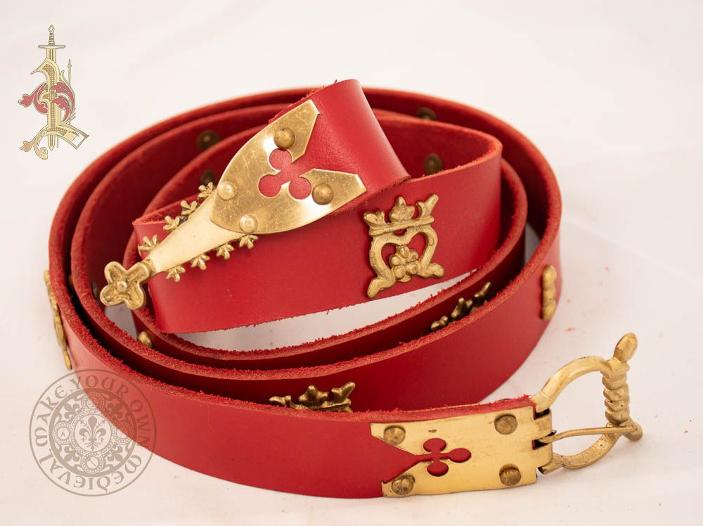 15th century medieval reproduction belt in red veg tan  leather