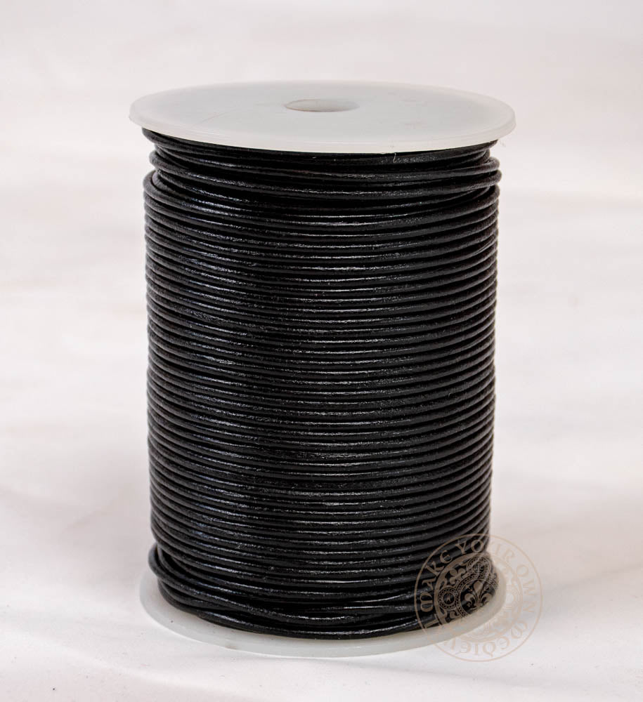 Leather Cord - Black 2mm Thickness - 100 Meter Roll