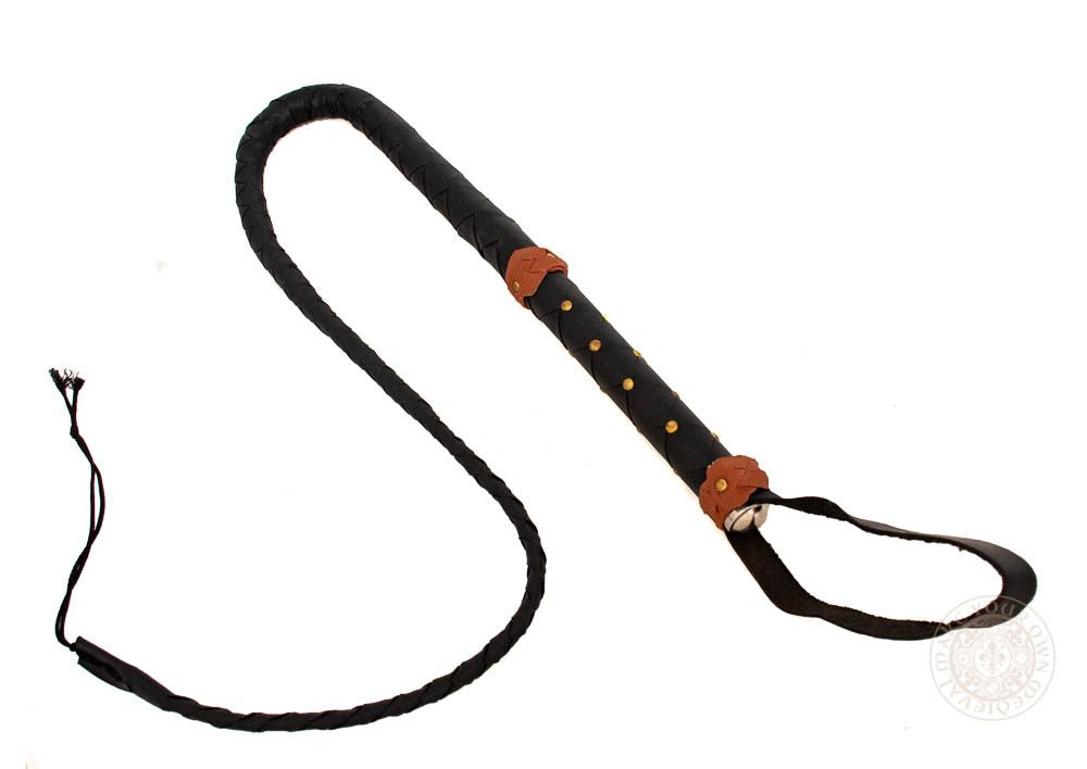 3 foot whip made from black leather