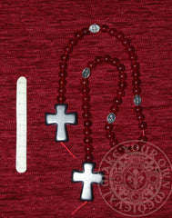 Medieval Paternoster: Black Cross with Red Beads and Silver Icons