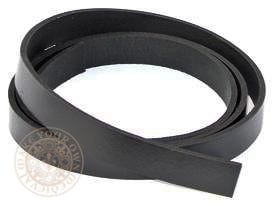 Black leather belt blank 25mm wide strap width