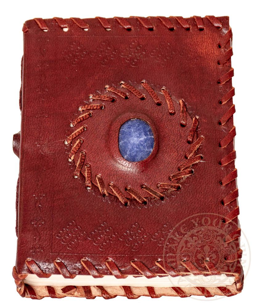 Book of shadows mini gift pagan leather journal with blue stone available in Australia