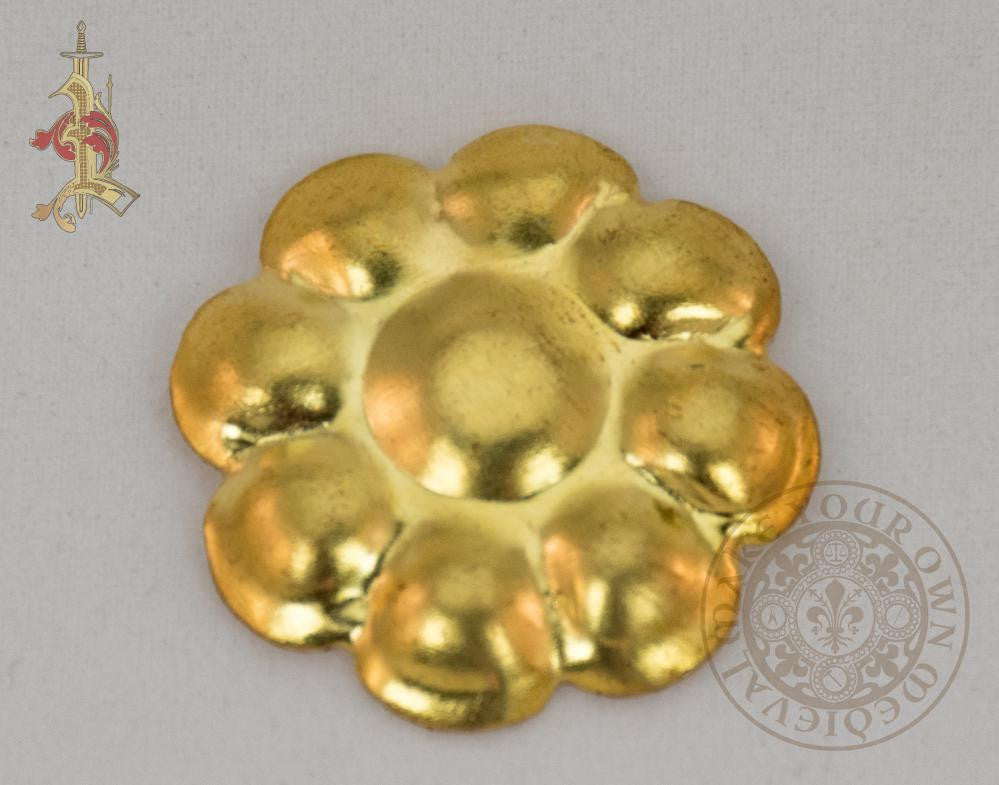 Brass flower stamping adornment for renaissance and medieval reenactment
