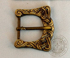 Celtic belt buckle with scroll knotwork for historical costume and clothing