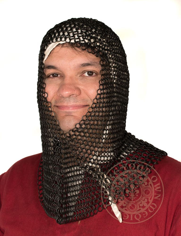 Chainmail coif with v face shape made from black butted rings 10mm 16g 1401BK
