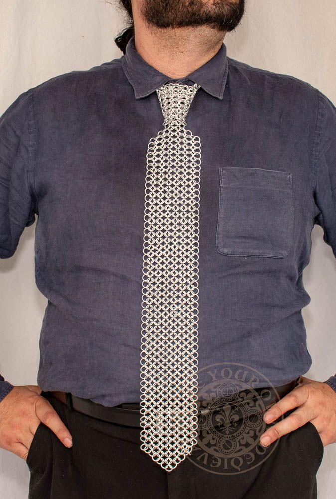 Chainmail mens tie made from aluminium