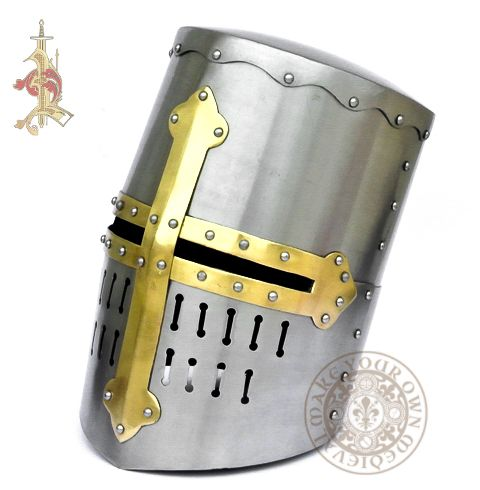 Crusader Knights Helmet suitable for 12th and 13th Century reenactment made from 14 gauge steel
