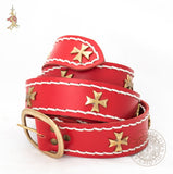 Crusader belt in red leather historical reproduction