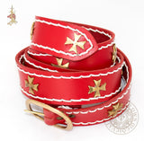 Crusades Medieval belt in red leather historical reproduction
