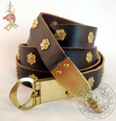 Medieval Oval Buckle with Strap End Belt with Flower Mounts
