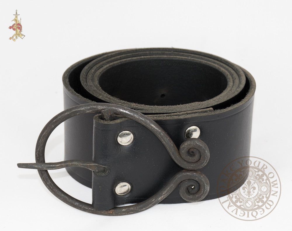Dark Ages belt with forged belt buckle made from long black leather