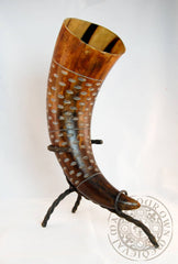 "Large Carved Drinking Horn (13""-15"")"