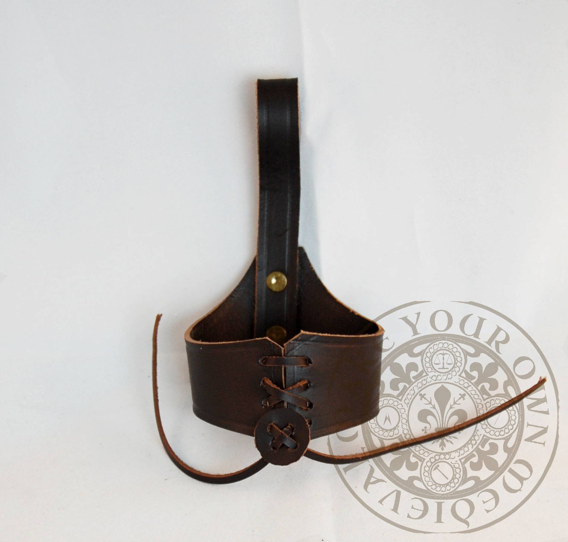 Drinking Horn Leather Holder for Belt. Brown Leather (Small)