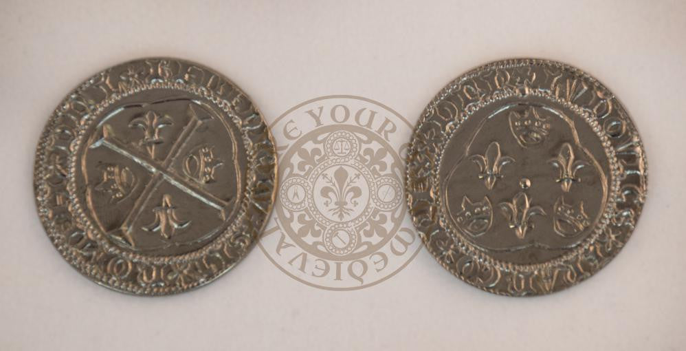 french 15th 16th century cu d 39 argent white crown medieval coin make your own medieval. Black Bedroom Furniture Sets. Home Design Ideas