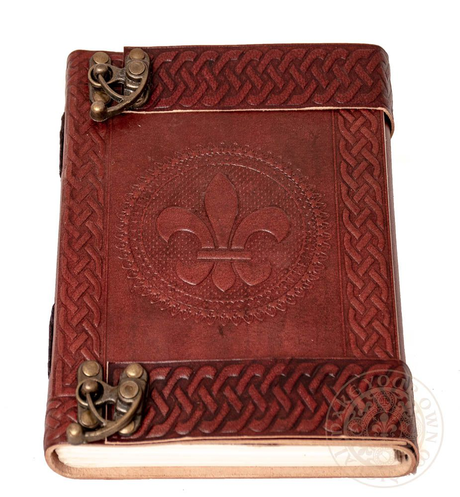 French Fleur de Lis Leather diary with Clasp