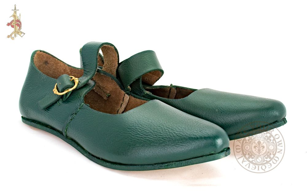 Green Medieval ladies shoes for Tudor SCA clothing made from green leather