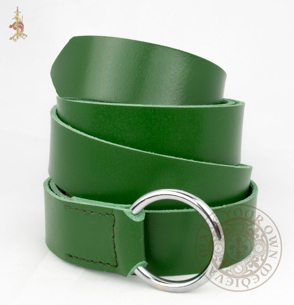 Medieval / Renaissance SCA Ring Belt in Green Veg Tan Leather