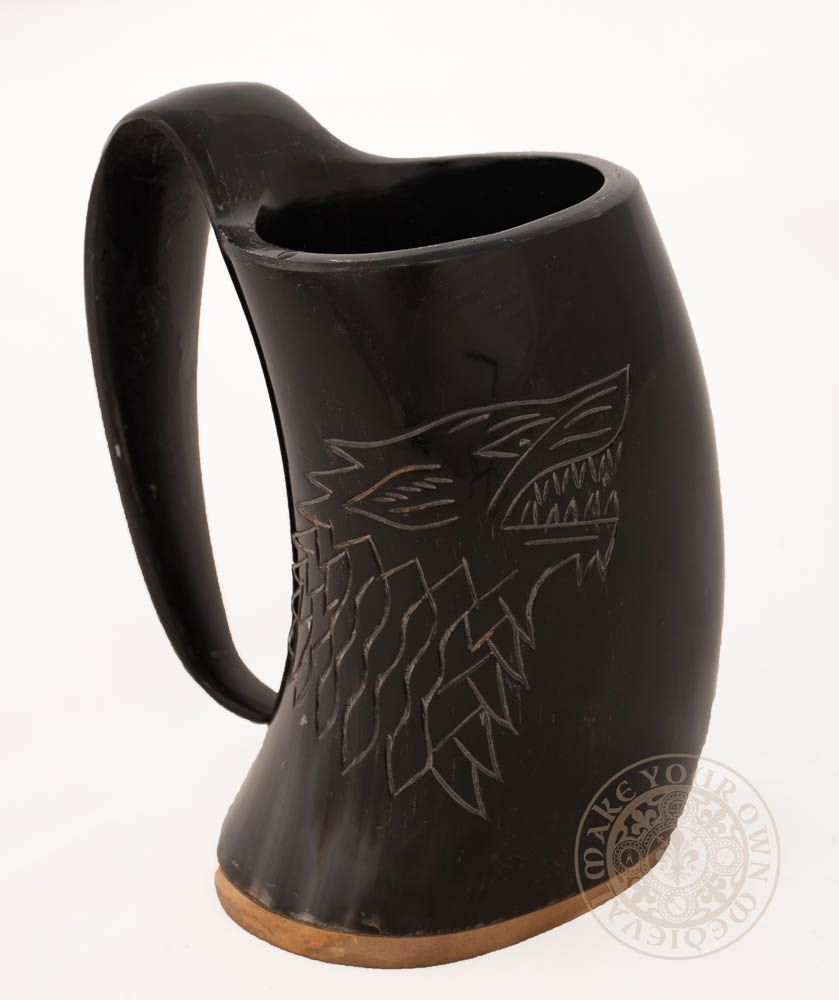 "Large Wolf Ale Horn Tankard 5""- 6"" inch (12.7cm to 15.25cm)"