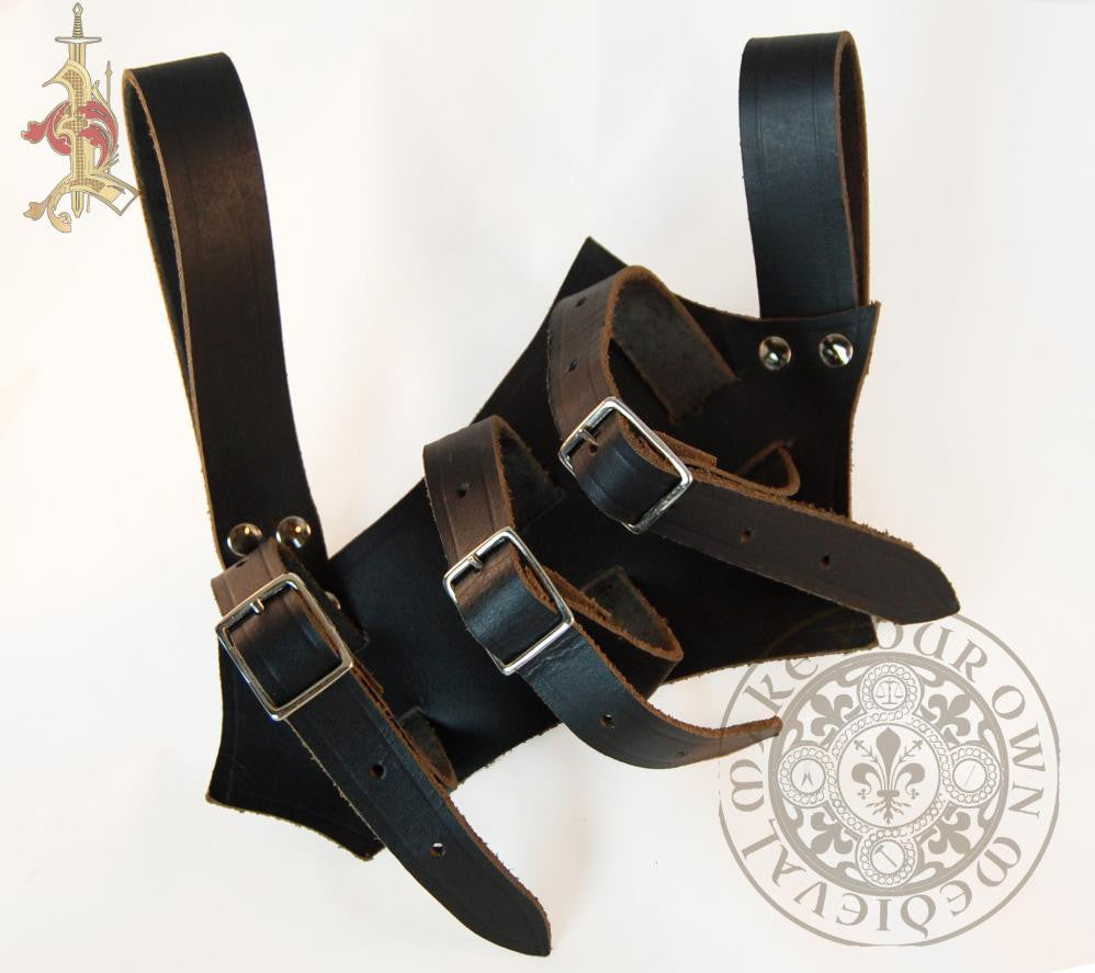 LARP Sword Scabbard Holder Frog in Black Leather