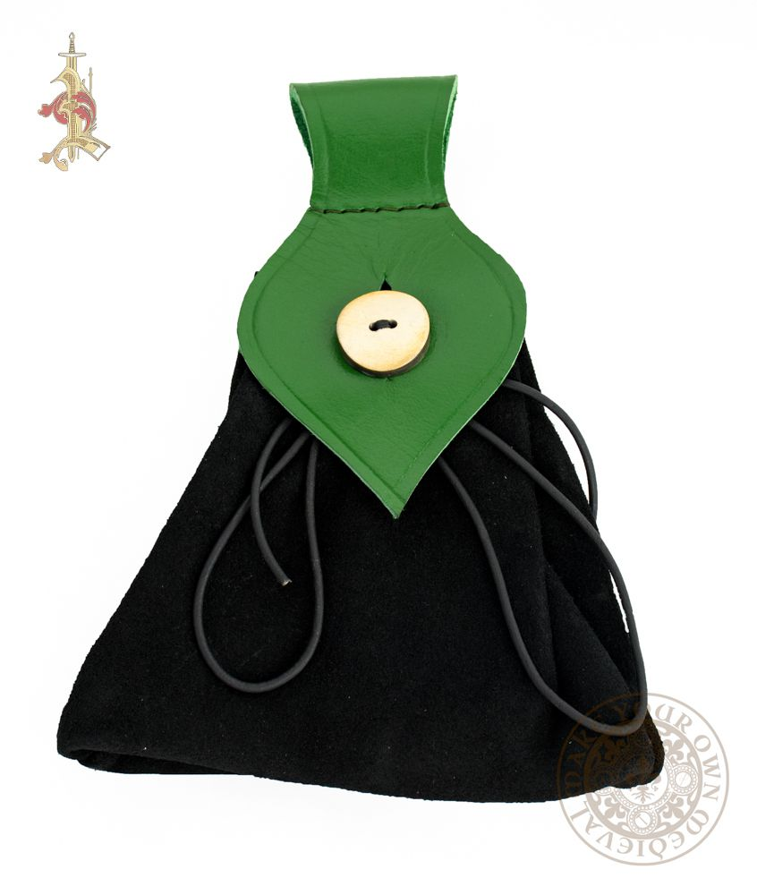 LARP ladies bag made from green and black suede leather