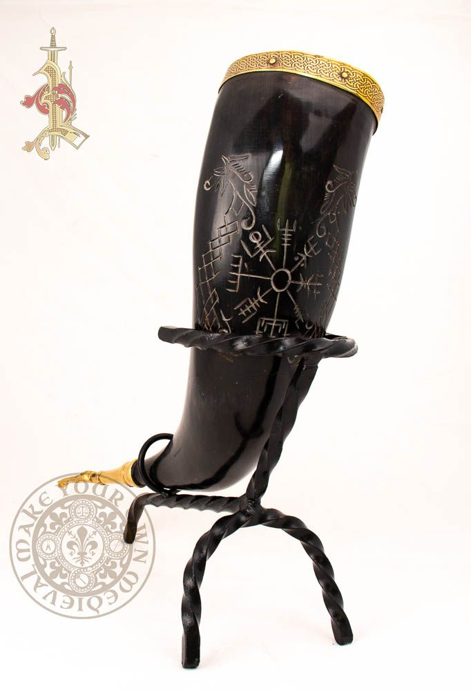 Large Viking Runic Drinking  Horn