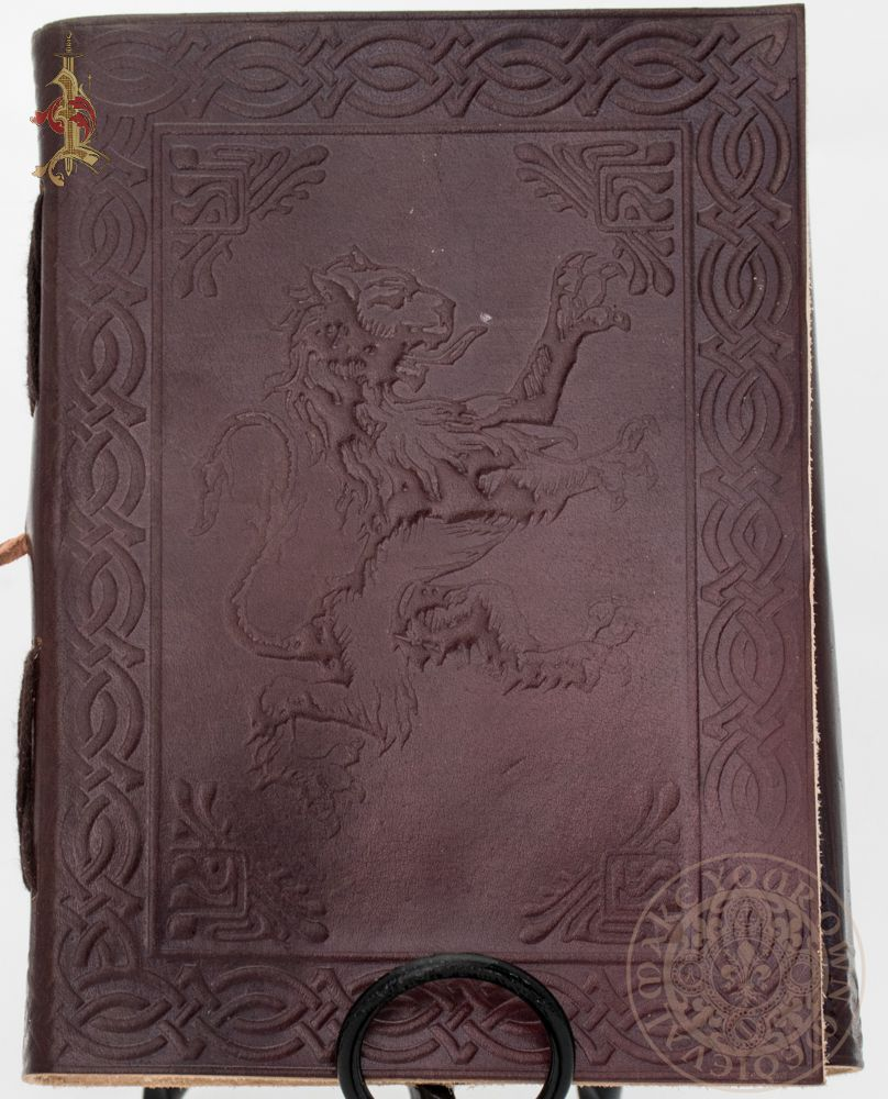 Lion rampant medieval heraldic design leather diary