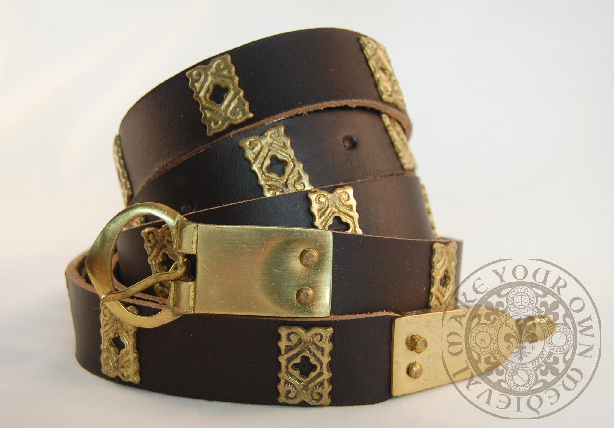 Medieval Belt with Mounts and Strap End for LARP Cosplay and Game of Thrones Costume