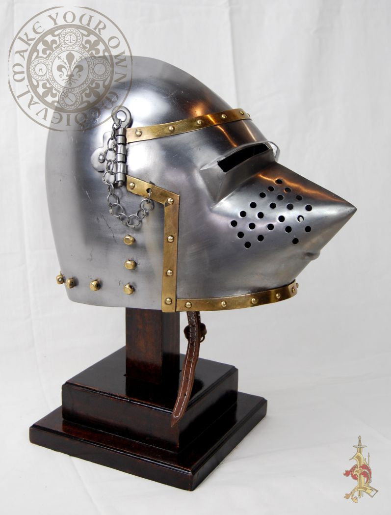 Medieval Reenactment Pig-Face Bacinet 14th - 15th Century reproduction Helmet