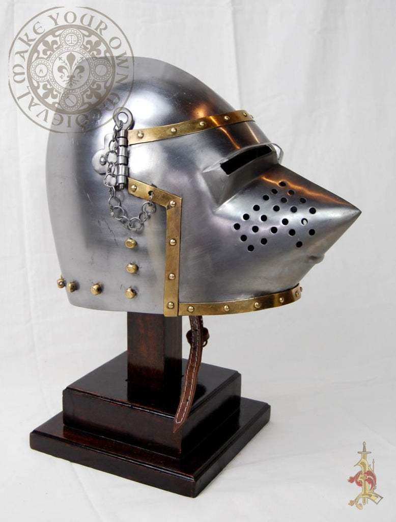 Hounskull Pig-Face Bacinet 14th - 15th Century Helm. 14 Gauge