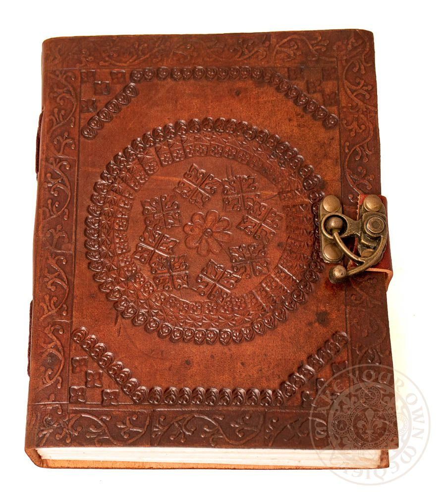 Arabic Mosaic Flower Leather Journal with Clasp