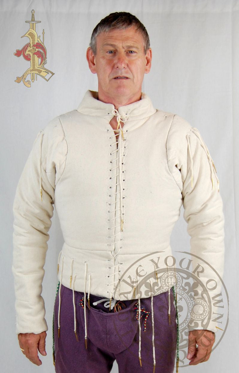 Medieval arming doublet with aglets