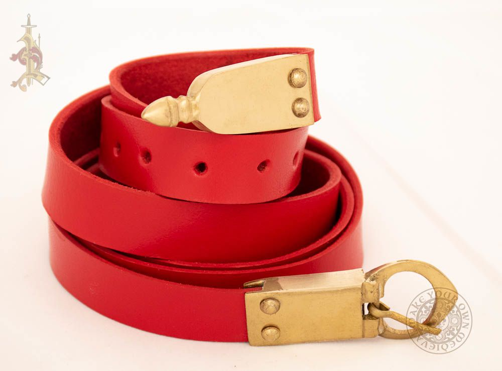 Medieval belt with brass strapend, buckle and mounts made from red veg tan leather