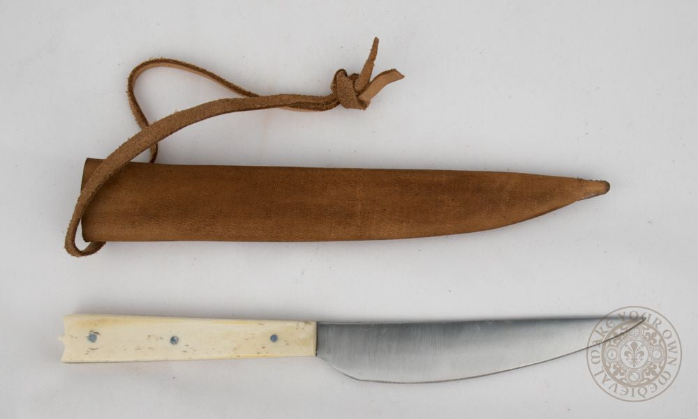 Medieval eating or feasting knife with bone handle and scabbard