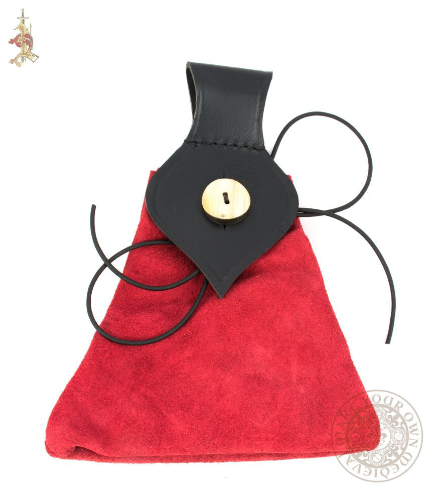 Medieval red and black suede leather bag