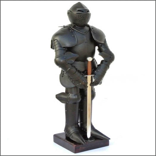 Mini Steel Knight Plate Armor on stand with sword