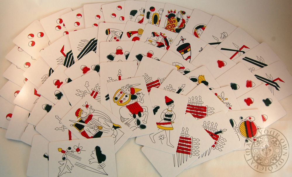 Morsica playing cards reproduction 14th century