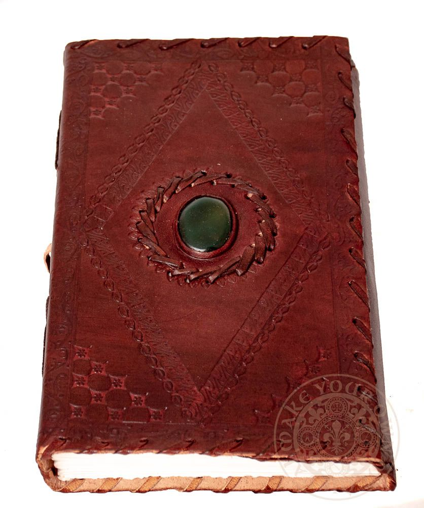 Book of shadows large leather journal with green stone