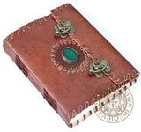 Pagan book of shadows magic leather journal with green healing stone