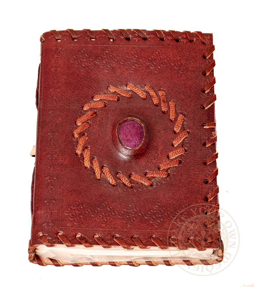 wiccan leather journal with purple stone available in Australia