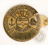 Perpetual Calendar key ring made from brass naval gifts