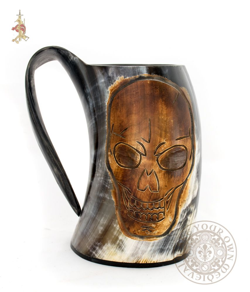 Pirate tankard ale drinking mug made from cow horn