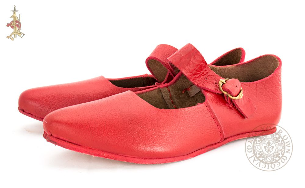Red Ladies Medieval leather shoes with buckle