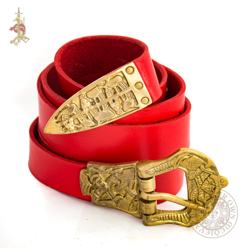 Red Viking historical belt based on archaeological finds from birka made from veg tan leather