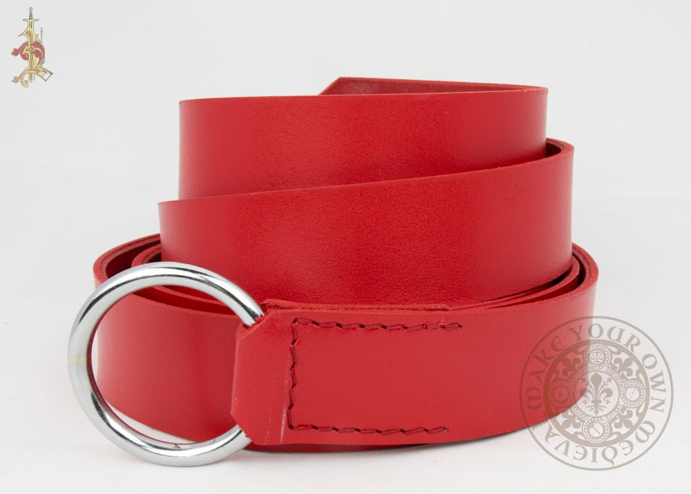 Red medieval ring belt for SCA renaissance and LARP clothing and costume