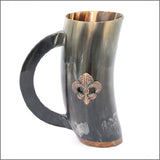 Renaissance ale mug made from cow horn with handle and fleur de lis carving