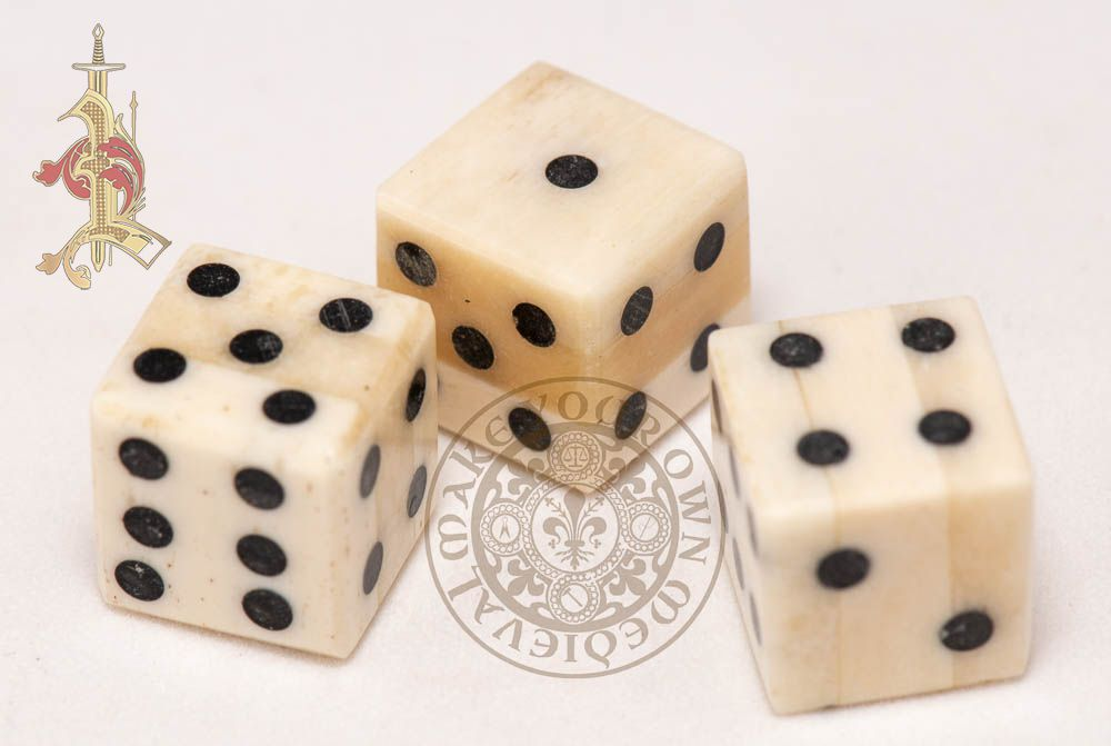 Bone Dice with Pips - 12mm